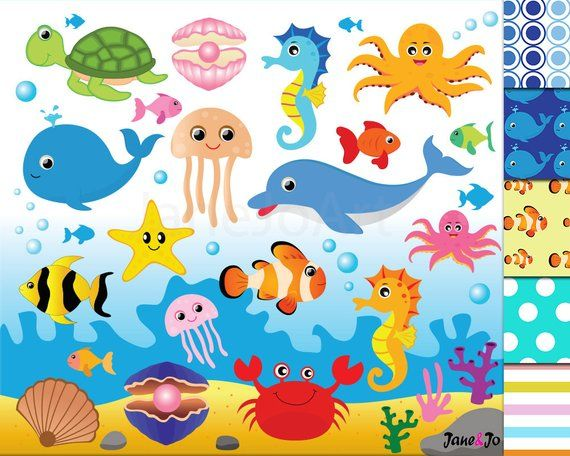 Aquatic animals clipart clip freeuse library 50%OFFSALE Sea Animal Clipart,Sea Animals Clipart,Sea Creatures ... clip freeuse library