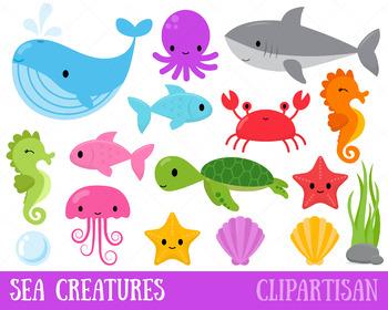 Aquatic animals clipart clip freeuse download Sea Animals Clip Art, Ocean Creatures clip freeuse download