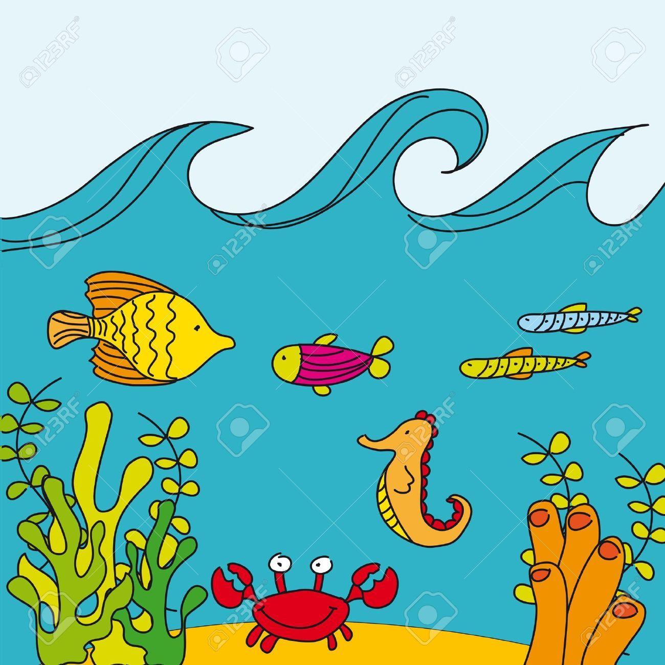 Aquatic ecosystem clipart