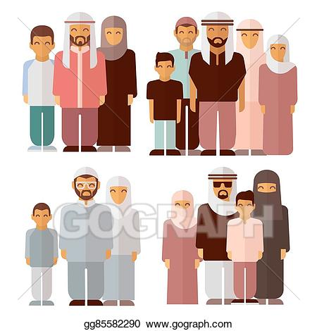 Arab culture clothes clipart royalty free download Vector Illustration - Arabic family in traditional muslim clothes ... royalty free download
