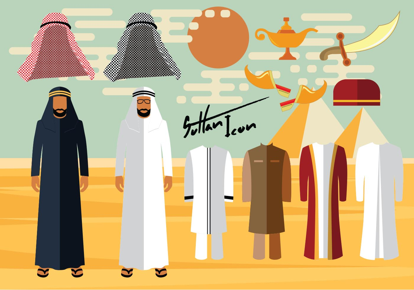 Arab culture clothes clipart image library Arab Man Free Vector Art - (3,531 Free Downloads) image library
