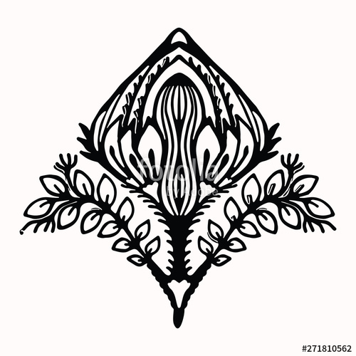 Arabesque shape clipart free clipart transparent Ornamental flower folk art graphic design element. Hand drawn ... clipart transparent