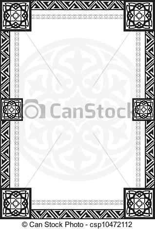 Arabic clipart borders clip art transparent download Vector Clip Art of frame with Arabic geometrical patte ... clip art transparent download