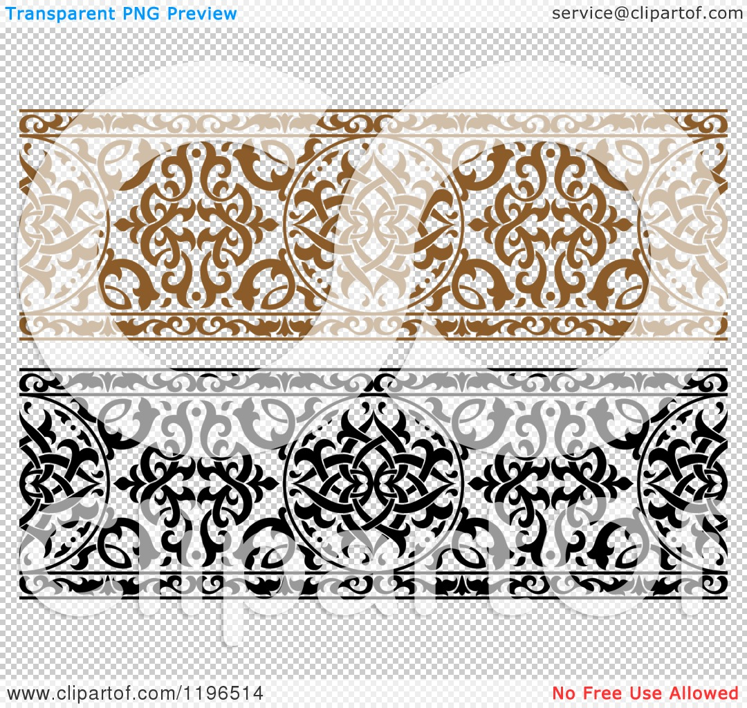 Arabic clipart borders graphic royalty free library Clipart of Ornate Brown and Black and White Arabic Borders ... graphic royalty free library