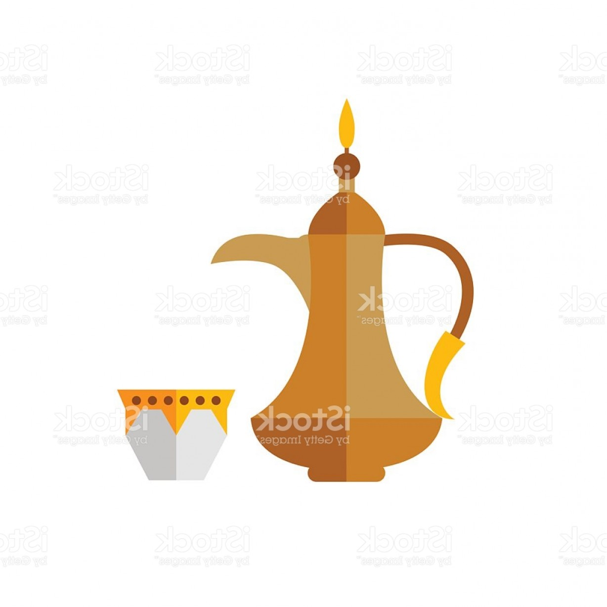Arabic coffee pot cliparts vector library stock Arabic Coffee Pot With Cup Icon Gm | GeekChicPro vector library stock