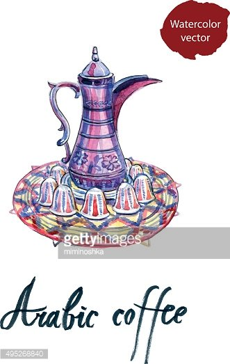 Arabic coffee pot cliparts svg transparent library Watercolor Arabic Coffee Pot and Cups Set premium clipart ... svg transparent library