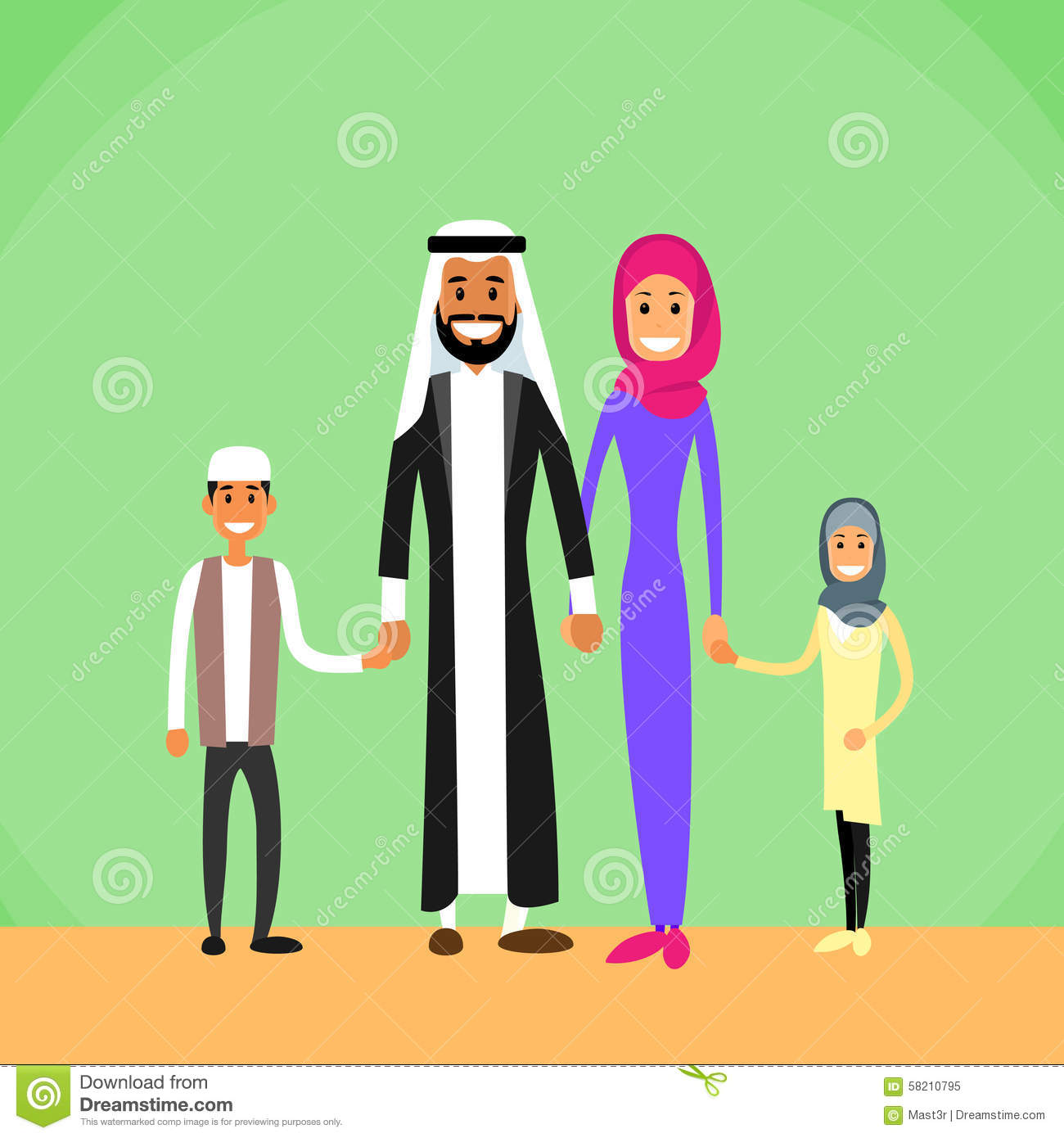 Arabic family photo clipart. Arab four people parents