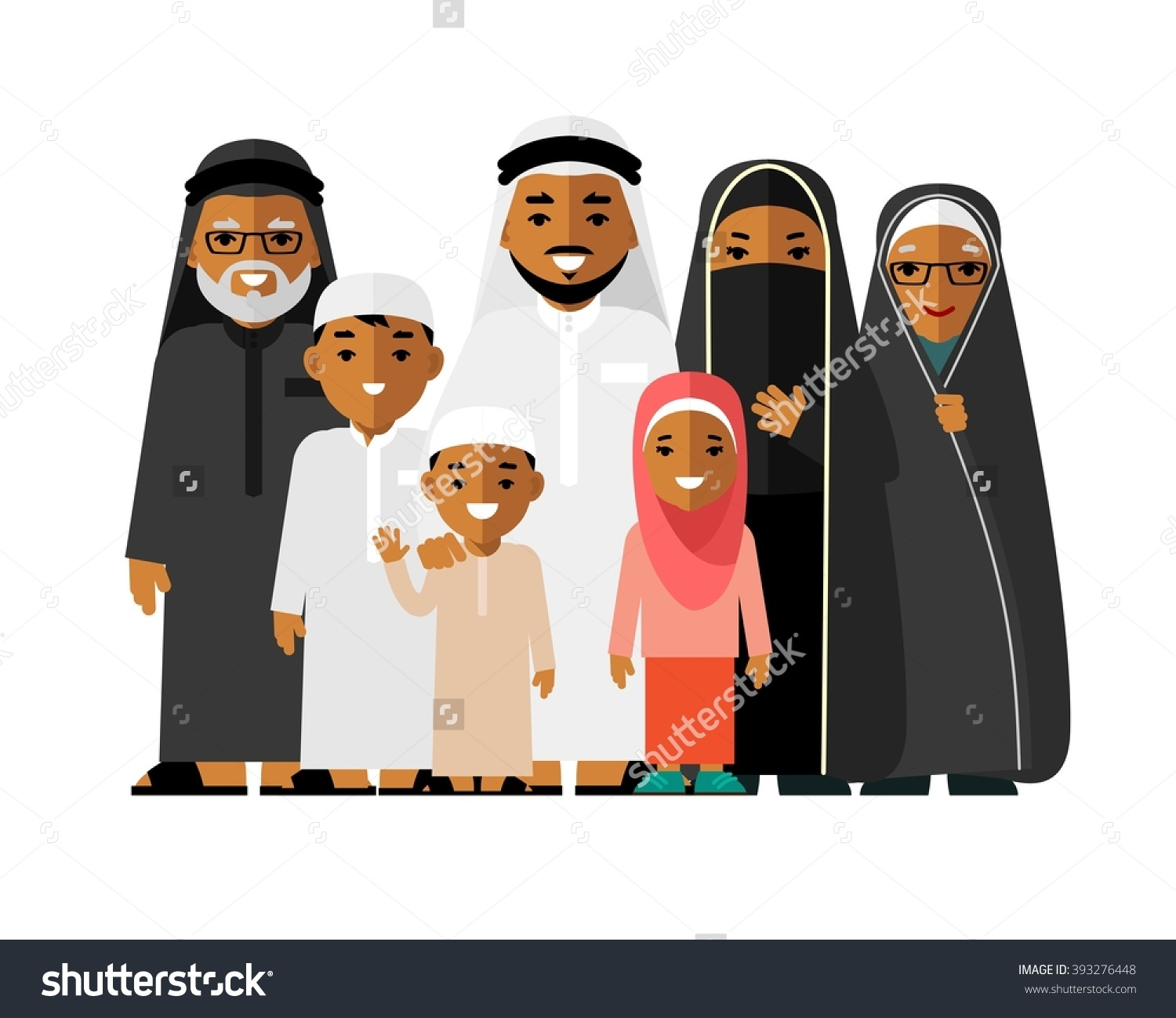 Arabic family photo clipart banner free Happy Muslim Arabic Family Isolated On Stock Vector 393276448 ... banner free