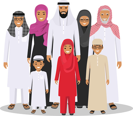 Clip art vector images. Arabic family photo clipart