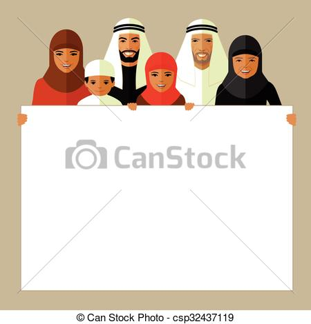 Arabic family photo clipart picture black and white Vector Clip Art of Arab Family Four People, Arabic Parents Two ... picture black and white