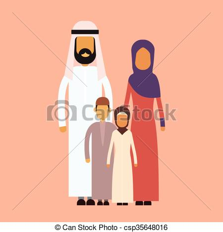 Arabic family photo clipart svg royalty free Vector Clip Art of Arab Family Four People, Arabic Parents Two ... svg royalty free