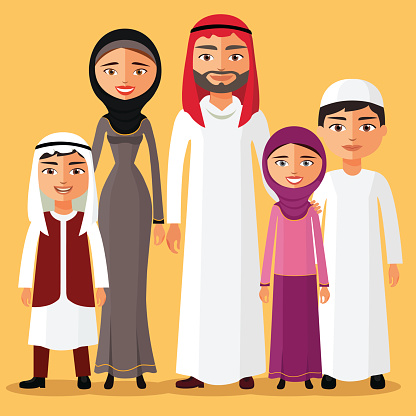 Arabic family photo clipart. Clip art vector images