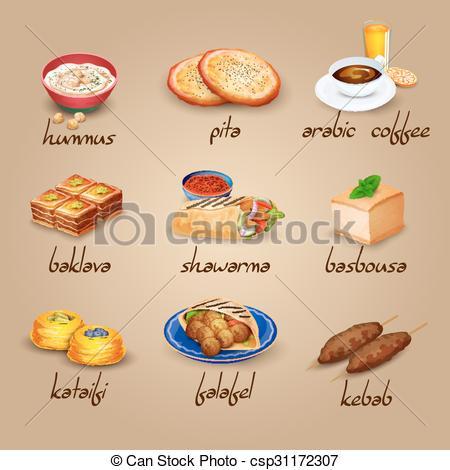 Clipartfest icons set . Arabic food clipart
