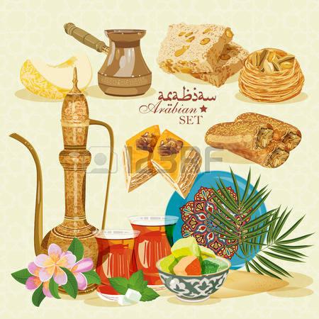 Arabic food clipart.  lebanese stock vector