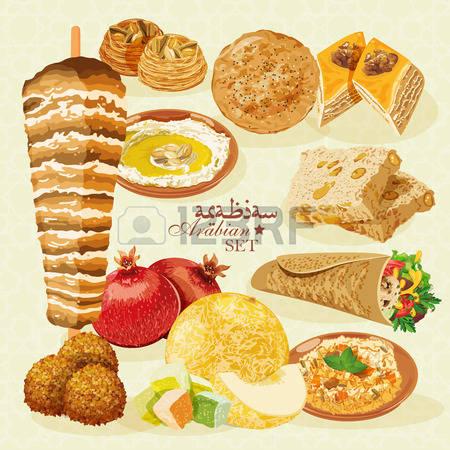 stock vector illustration. Arabic food clipart