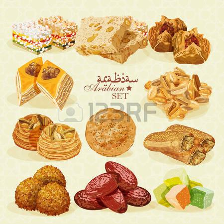 Arabic food clipart.  stock vector illustration