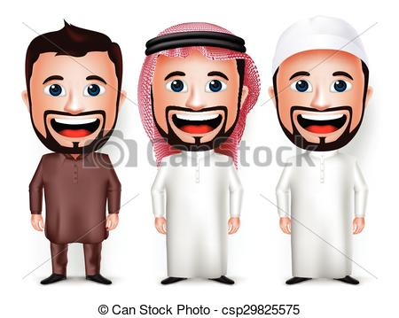 Arabic man clipart image transparent download Clipart Vector of Saudi Arab Man Cartoon Character - 3D Realistic ... image transparent download