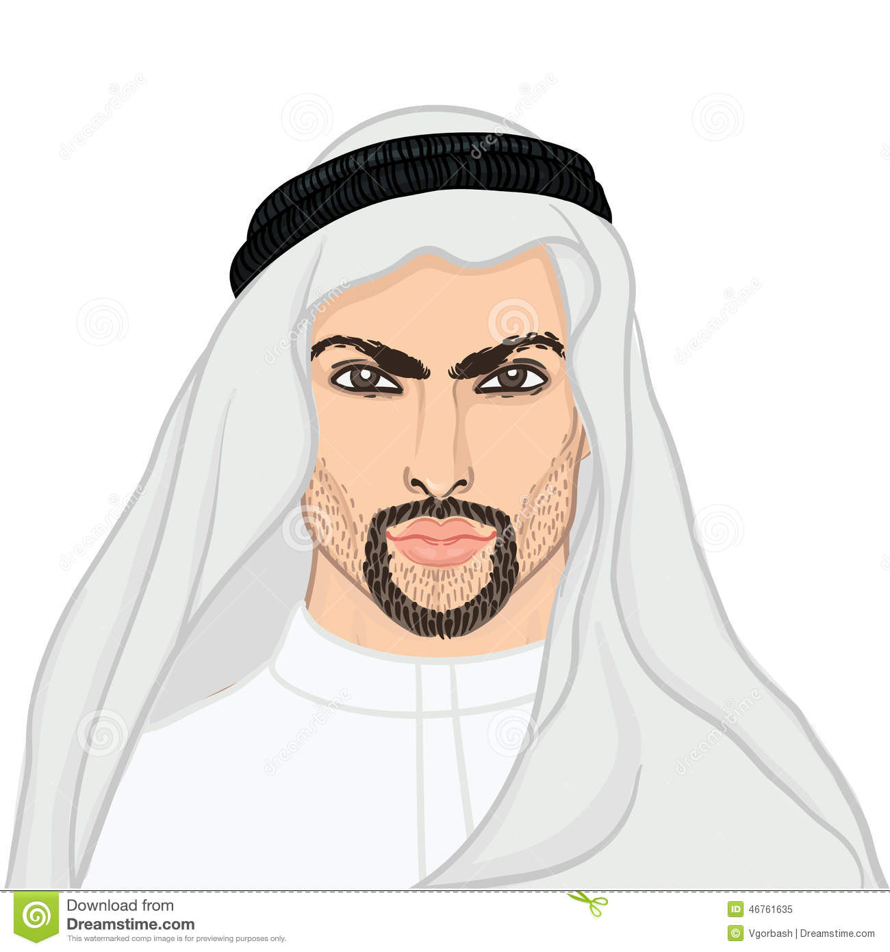 Arabic man clipart clip freeuse Vector Illustration Portrait Of A Arab Man In Keffiyeh Stock ... clip freeuse