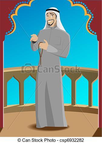 Vector illustration of smiling. Arabic man clipart