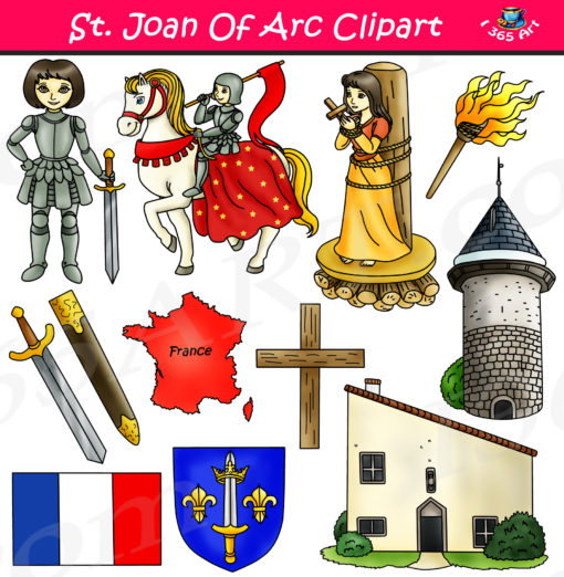Arc math clipart jpg freeuse download Joan of Arc Clipart Set - Influential People Download jpg freeuse download
