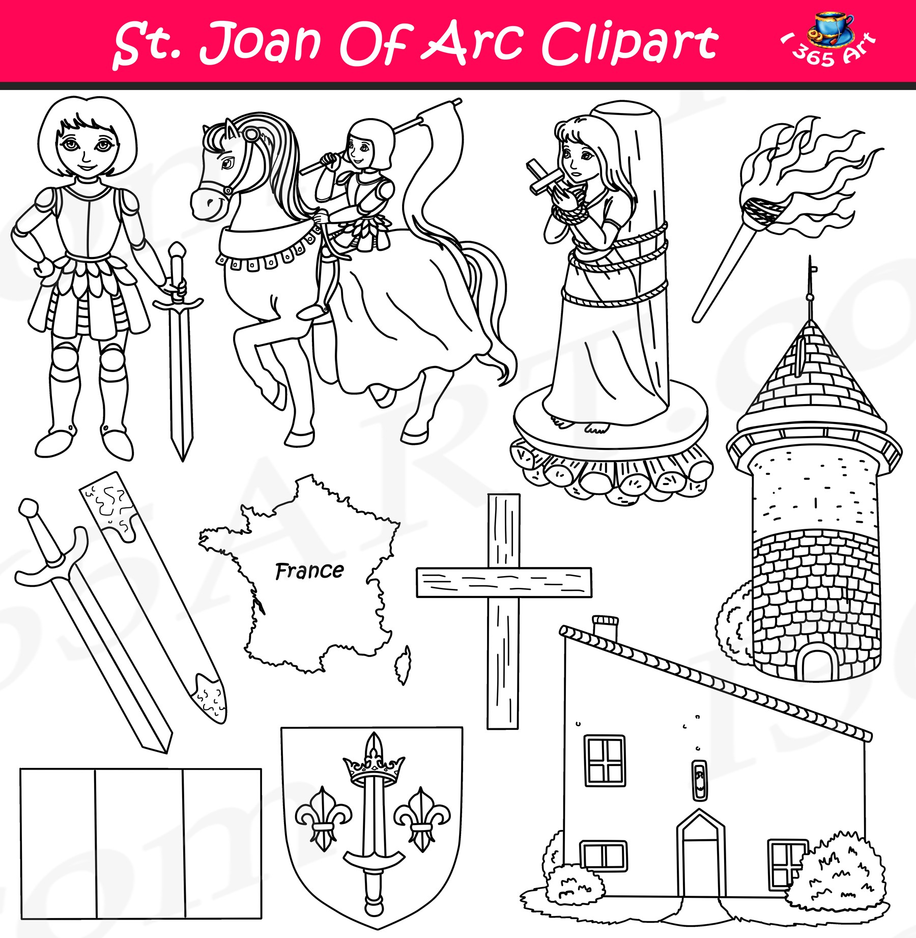 Arc math clipart jpg free Joan of Arc Clipart Set - Influential People Download jpg free