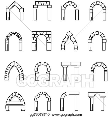 Arch clipart black and white svg library stock Vector Art - Black line icons vector collection of arches. Clipart ... svg library stock