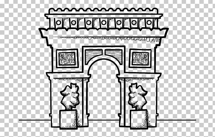 Arch de triomphe clipart picture black and white stock Arc De Triomphe Eiffel Tower Drawing Triumphal Arch Coloring Book ... picture black and white stock