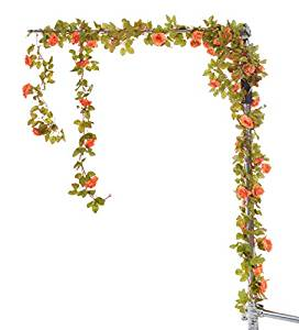 Arch of flowers orange clipart banner library 37 Feet-Artificial Vintage Rose Flower Garland Greenery Leaves Vines Home  Party Wedding Wall Decoration Plants (Sunset Red) banner library