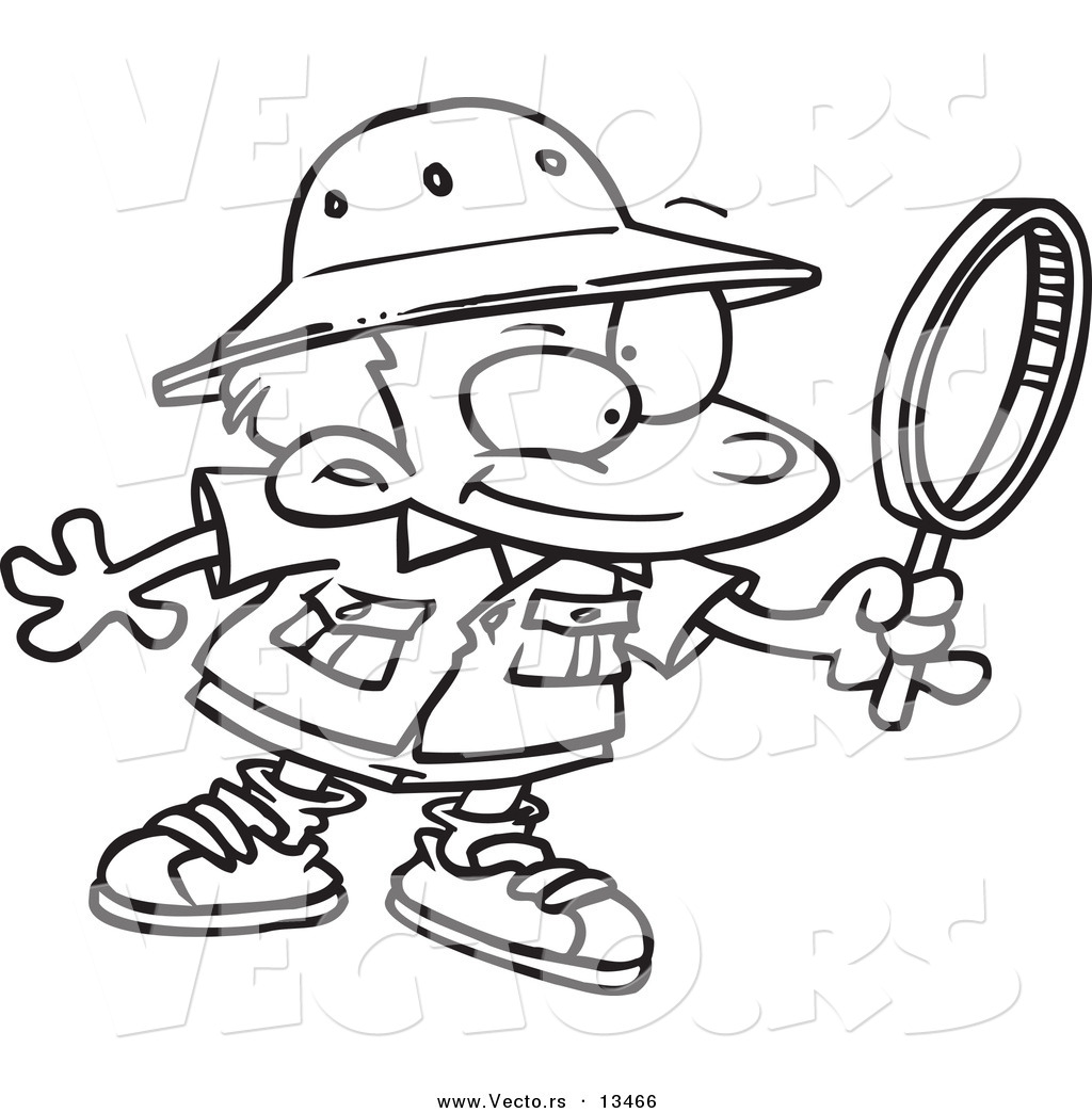 Archaeologist clipart black and white free coloring page banner black and white download Vector of a Cartoon Archaeology Boy Using a Magnifying Glass ... banner black and white download