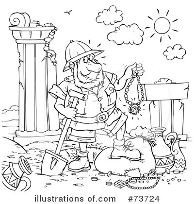 Archaeologist clipart black and white free coloring page image freeuse download Archaeology Clipart #73724 - Illustration by Alex Bannykh image freeuse download