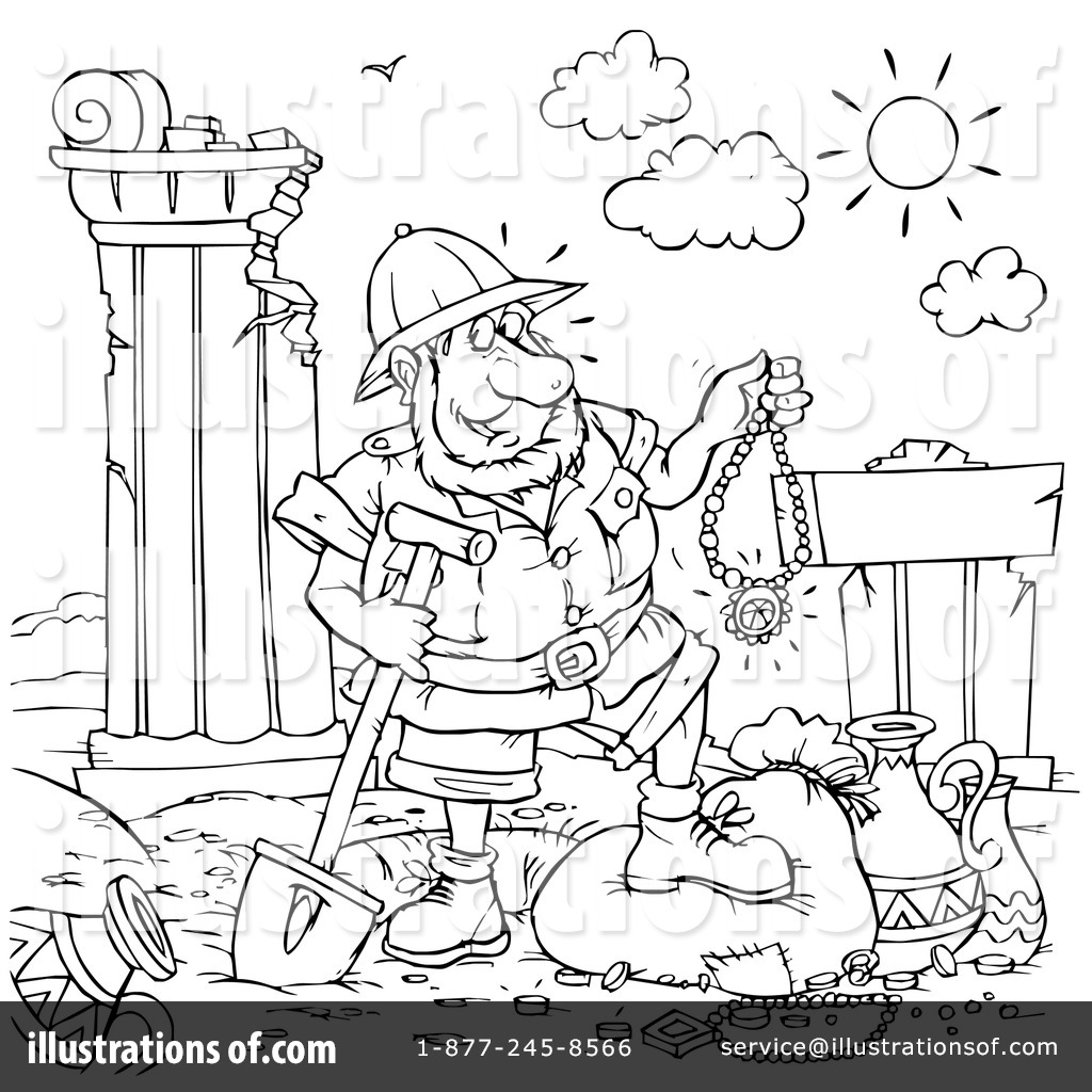 Archaeologist clipart black and white free coloring page jpg royalty free stock Archaeology Clipart #73724 - Illustration by Alex Bannykh jpg royalty free stock