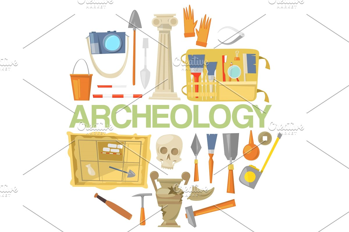 Archaeologist tool kit clipart png download Archaeology icon set banner vector png download
