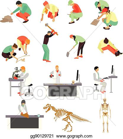 Archaeology toolbox clipart clip download EPS Illustration - Vector set of archaeologists, researchers at work ... clip download