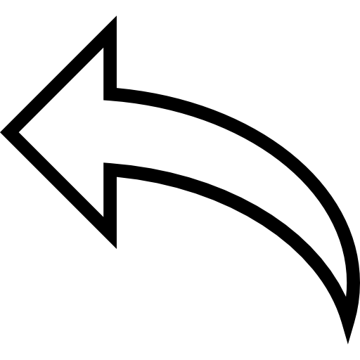Arched arrow to left clipart image black and white library Curve arrow outline to the left Icons   Free Download image black and white library