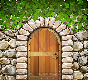 Arched door clipart clip freeuse download Stone wall with arched medieval wooden door and - vector clip art clip freeuse download
