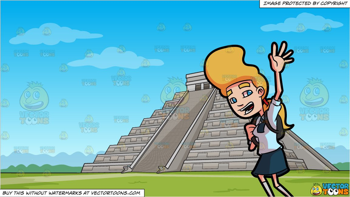 Archeology teachers girl clipart without copy rights jpg freeuse A Female Student Waving Goodbye To Her Friends In School and Temple Of  Kukulcan Mayan Pyramid Background jpg freeuse