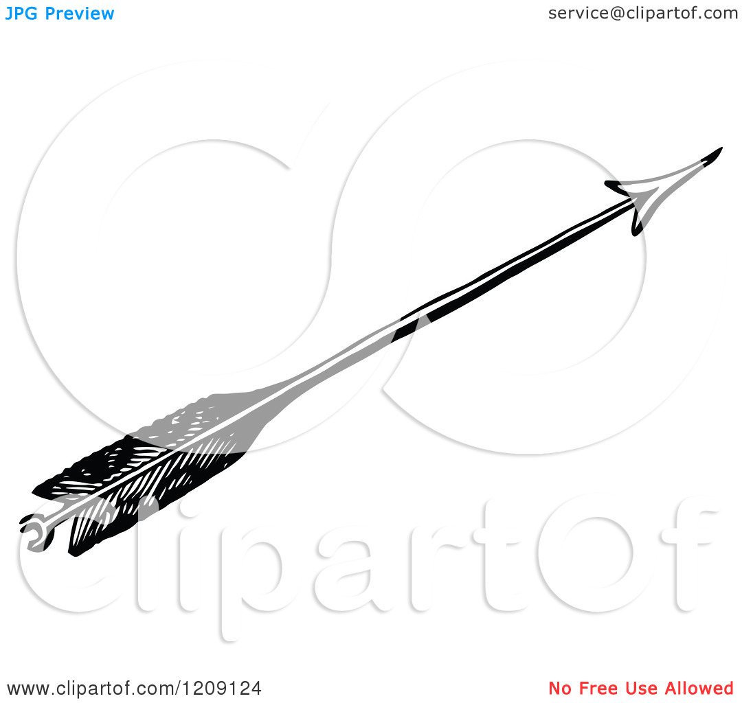 Archery arrow clipart jpg svg royalty free download Clipart of a Vintage Black and White Feathered Archery Arrow ... svg royalty free download