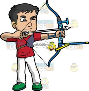 Archery man clipart picture free A male archer aiming his bow and arrow at a target picture free