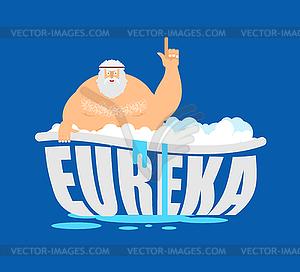 Archimedes eureka clipart jpg Archimedes in bath. Thumbs up eureka. ancient - vector clip art jpg