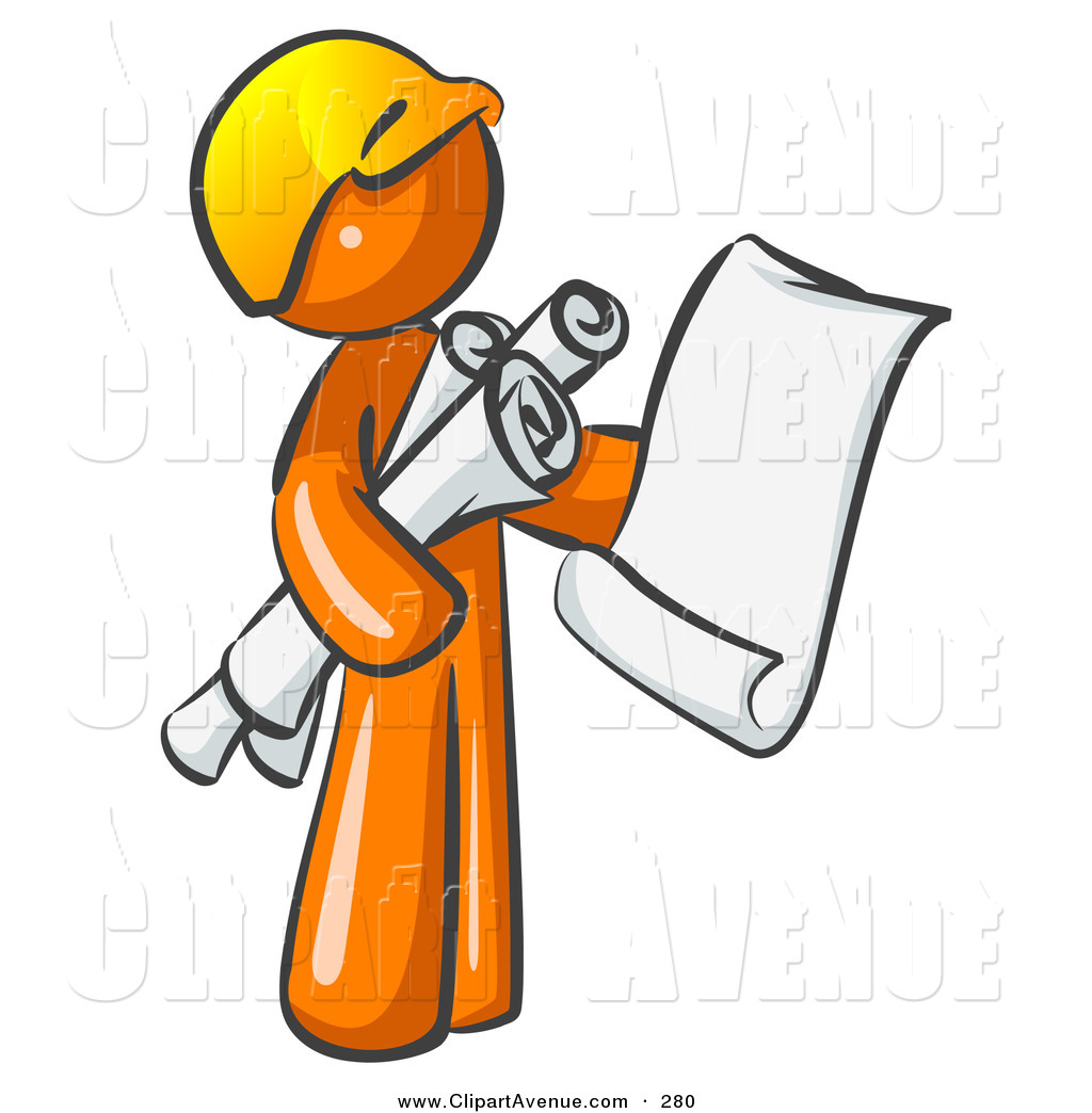 Architect clipart clip stock Avenue Clipart of a Busy Orange Man Contractor or Architect Holding ... clip stock