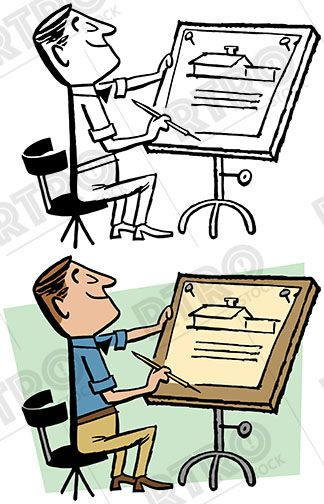 Clipart architectural drawings image royalty free library An architect draws up plans for a new house at his drawing table ... image royalty free library