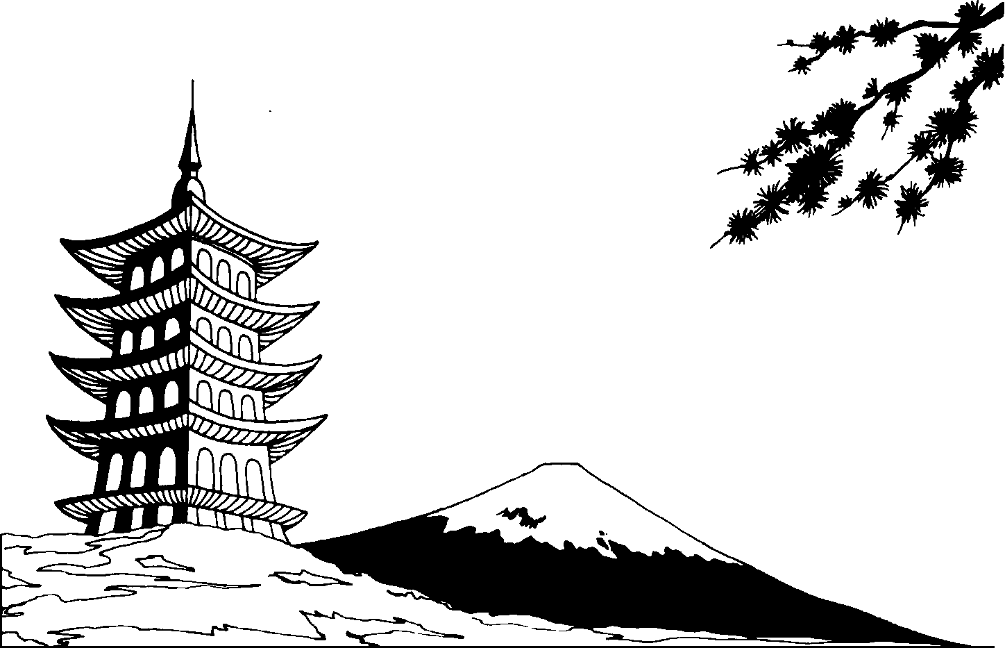 Japanese art clipart png black and white download Japanese gallery for asian black and white clip art | JP ... png black and white download