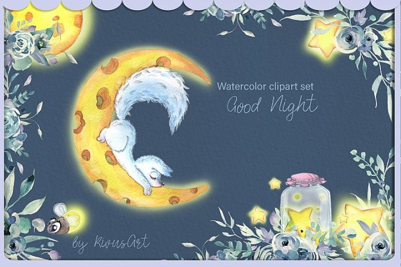 Arctic algeria clipart picture freeuse Arctic fox and glowworm night watercolor clipart kit for baby By ... picture freeuse