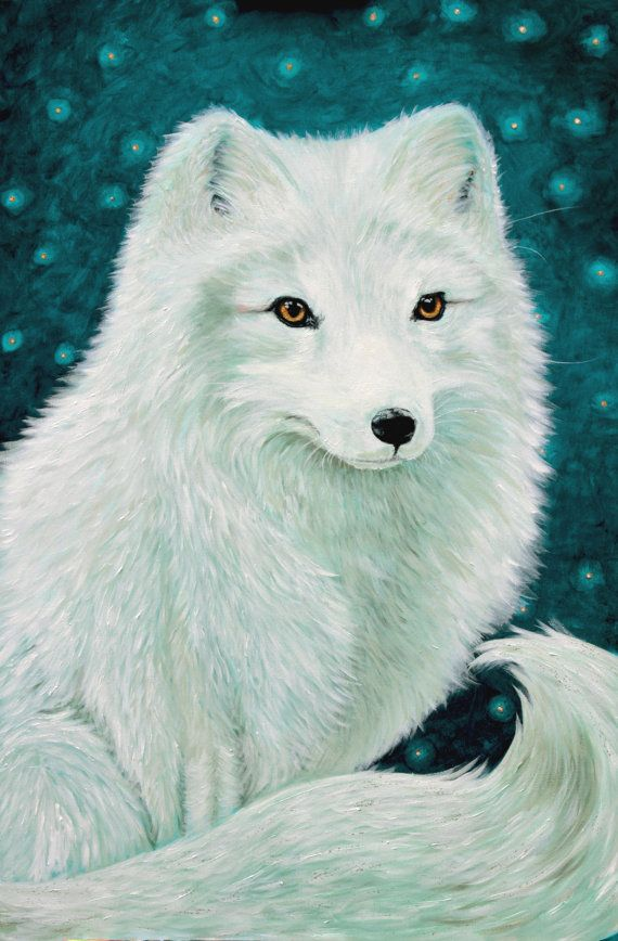 Arctic fox side view clipart vector free Fox Art Arctic Fox Print White Fox Art Teal Decor | Painting in 2019 ... vector free