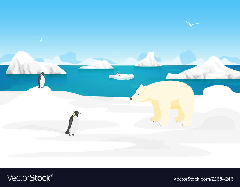 Arctic scene clipart royalty free library Cartoon arctic ice landscape outdoor scene vector image royalty free library