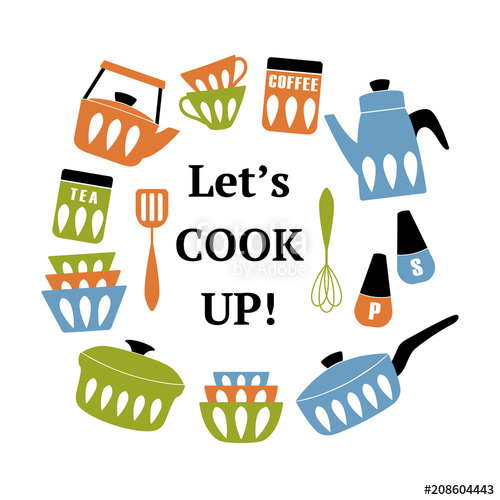 Are clipart files good for printing png Mid Century Modern Kitchen Poster. Collection of cooking utensil ... png