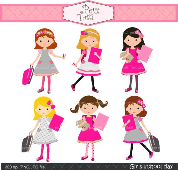 Are jpegs or cliparts smaller png free library School girl clip art - girls clipart, back to school clip art, pink ... png free library