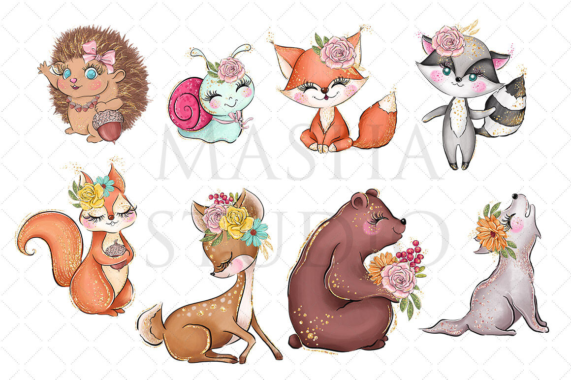 Are jpegs or cliparts smaller clip library download FOREST FRIENDS Clipart By MASHA STUDIO   TheHungryJPEG.com clip library download