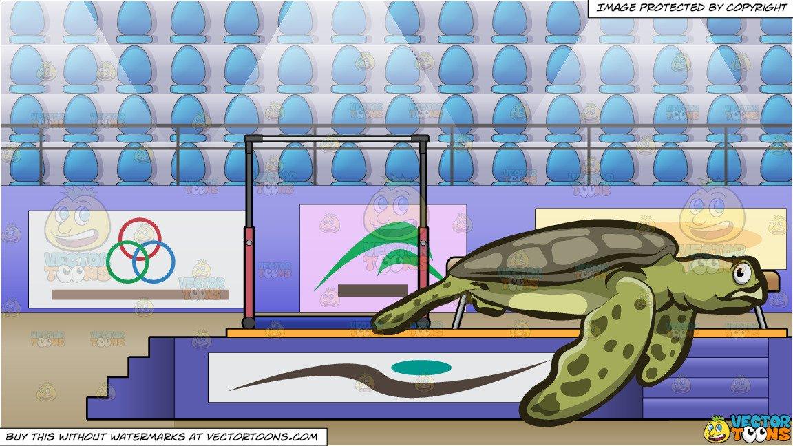 Arena sea clipart graphic stock A Big Sea Turtle and Competitive Gymnastics Arena Background graphic stock