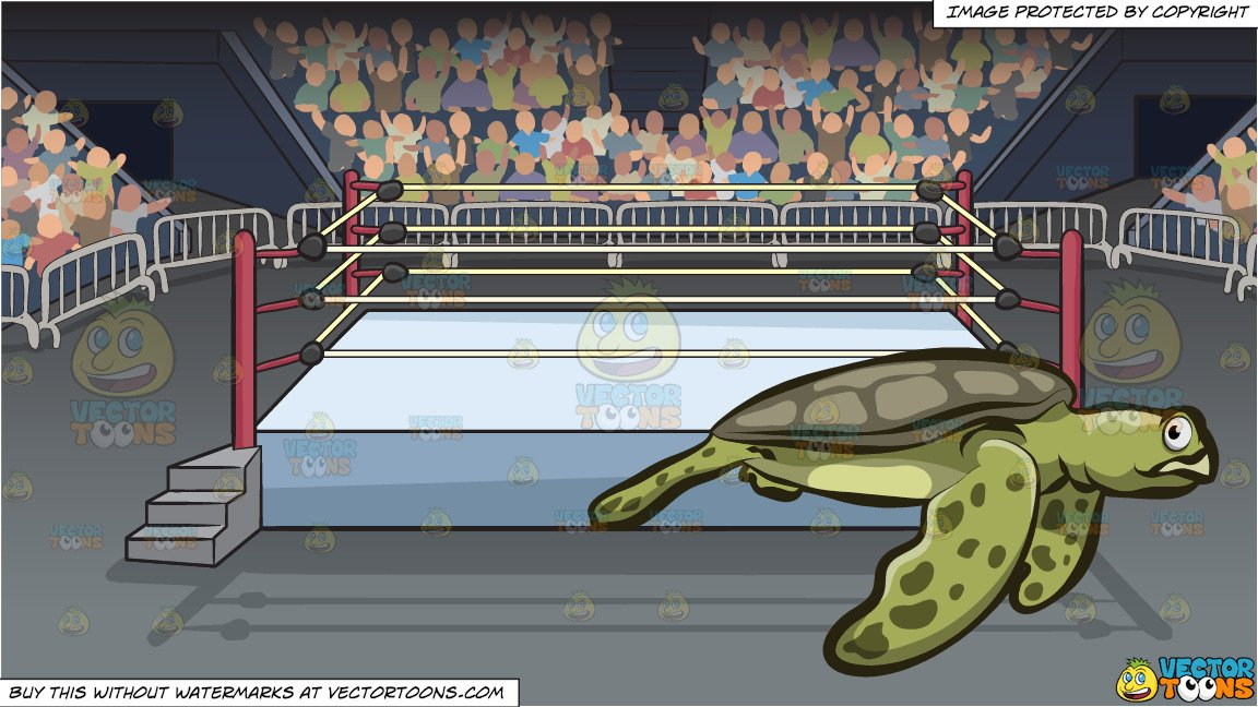 Arena sea clipart royalty free A Big Sea Turtle and A Wrestling Ring Inside An Arena Background royalty free